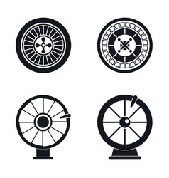 roulette wheel fortune icons set simple style vector image