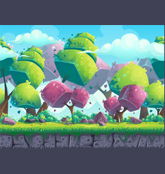 Seamless cartoon natural landscape with futuristic vector