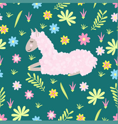seamless pattern with lama and flowers vector image