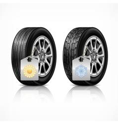 Season rubber wheels on white vector image