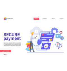 Secure payment flat landing page template vector