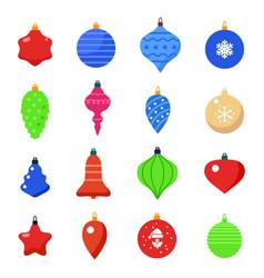 set christmas ball shapes vector image
