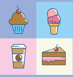set delicious desert food pastry vector image