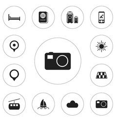 set of 12 editable travel icons includes symbols vector image