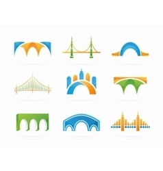 Set of abstract bridge connection logo vector
