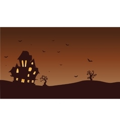 Silhouette of castle and bat Halloween vector