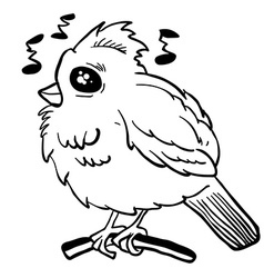 Simple black and white funny looking bird vector