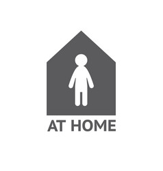 Stay home home sticker symbol vector