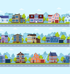 suburban seamless cityscape panoramic street vector image