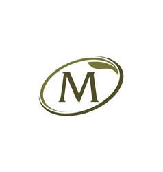 Swoosh leaf letter m vector