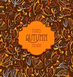 Tansy twigs pattern Orange brown autumn vector image