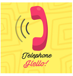 telephone hello phone receiver yellow background v vector image
