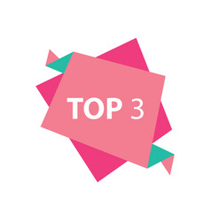 Top3 text in label pink and green vector