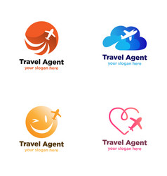 travel agent logo with plane symbol vector image