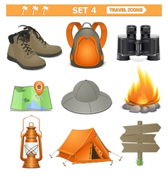travel icons set 4 vector image