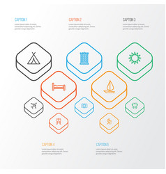 Traveling outline icons set collection of tram vector