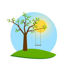 tree with swing for web banner vector image