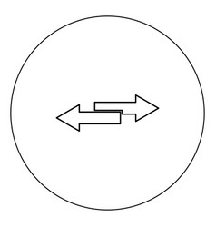 Two side arrows icon black color in circle vector
