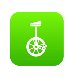 Unicycle icon digital green vector