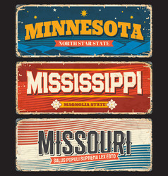 Usa states missouri mississippi minnesota signs vector