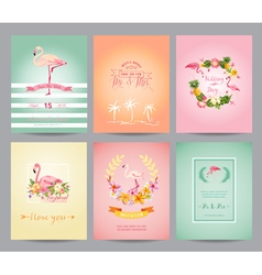 Vintage Flamingo Card Set - for Birthday Wedding vector image vector image