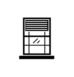 window black icon sign on isolated vector image