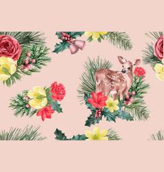 Winter bloom pattern design with deer flower vector