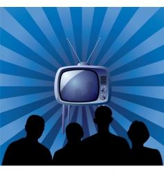 family watching retro TV set vector image vector image
