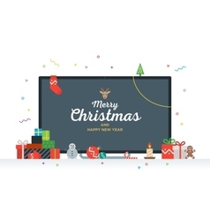 Large TV with Congratulatory text Merry Christmas vector image