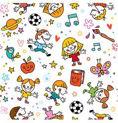 playful happy kids fun seamless pattern vector image