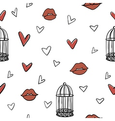 seamless romantic elements pattern vector image