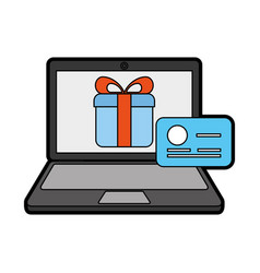 laptop with ecommerce app vector image
