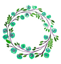 Blue Flower watercolor wreath for beautiful design vector image