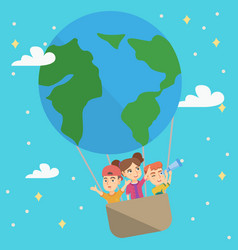 cheerful caucasian kids riding a hot air balloon vector image