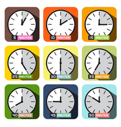 clock icons different time clock face set vector image