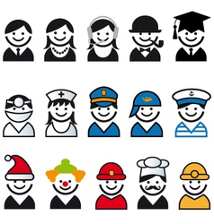 professions people icon set vector image vector image
