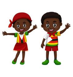 Zimbabwe boy and girl in flag color costume vector
