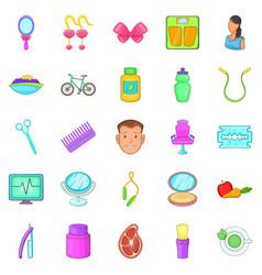 beauty saloon icons set cartoon style vector image vector image