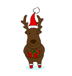 cute little new year reindeer with gift in hands vector image