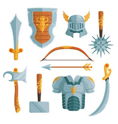 fantasy weapons in cartoon style vector image vector image
