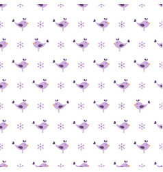 seamless pattern with birds and flowers vector image vector image