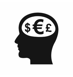 Thoughts about money icon simple style vector image