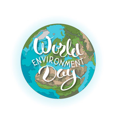world environment day lettering with planet vector image