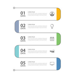 5 data infographics tab thin line index template vector