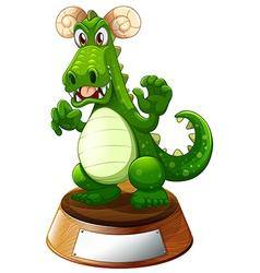 An angry green dragon vector