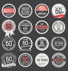 Anniversary retro label collection 60 years vector