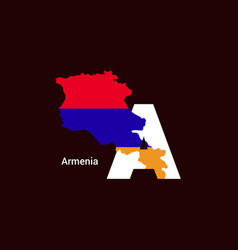 Armenia initial letter country with map and flag vector