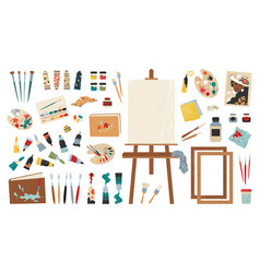 Artist tools painting workshop clipart collection vector