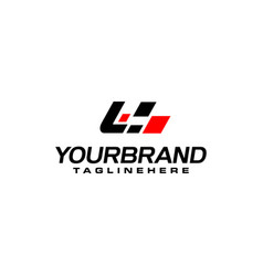 Auto speed letter l with race element logo vector