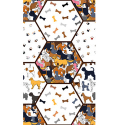 awesome seamless pattern with cartoon cute dogs vector image